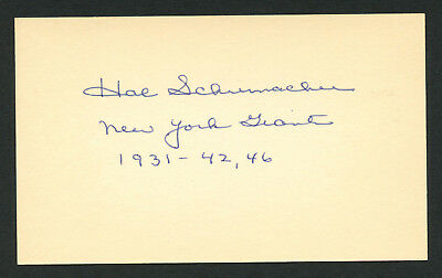 Hal Schumacher (d. 1993) signed autograph Baseball 3x5 Index Card 5012-28