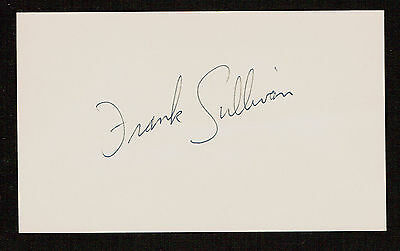 Frank Sullivan (d. 2016) signed autograph Baseball 3x5 Index Card 5074-04