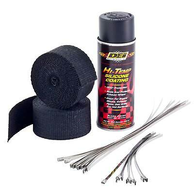 DEI Motorcycle Bike Exhaust Wrap Kit  Black Wrap With Black HT Silicone Coating