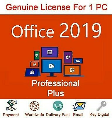 Office 2019 Pro Plus 32/64 Bit Dowload License Genuine  For 1PC