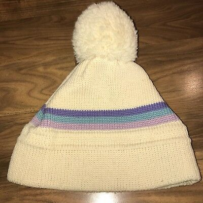 6dc22abdb4f44 Vtg 80s 90s Striped WIGWAM Wool BEANIE Apres Ski Hat Snow toboggan BIG POM  BALL