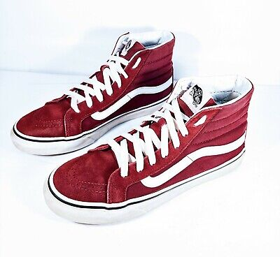 4127b3b1fb VANS Off The Wall Mens Sz 6.5 Women s Sz 8 Maroon Skateboard Sneaker Skate  Shoes