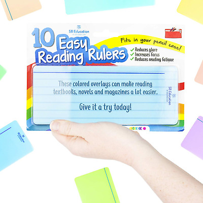 10 x Dyslexia Reading Strips with Coloured Overlays. Tracking Rulers for...