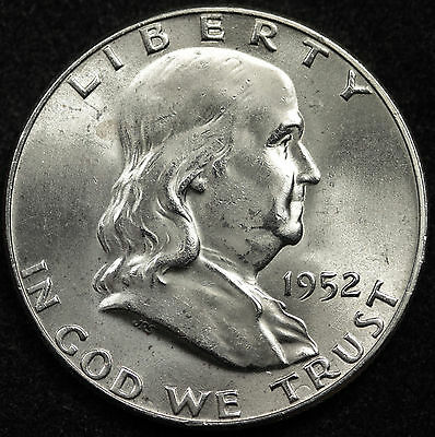 1952-p  Franklin Half Dollar. 100% Fully Separated Bell Line's. Nice B.U. (INV.A