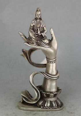 Chinese OLD Tibet silver copper Carved Kwan-yin Sit In Buddha Hand Statue