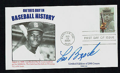 Lou Brock signed autograph On This Day In Baseball History Postal Cover FDC