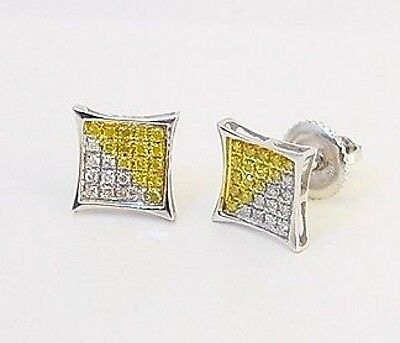 fed7f9692 10K White Gold Yellow White Diamond Earrings .15ct Kite Shape Micro Pave  Studs