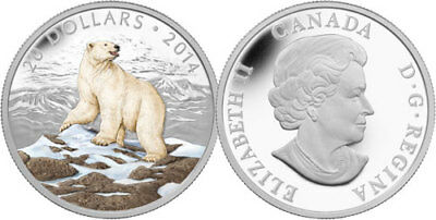 "2014 Royal Canadian Mint ""iconic Polar Bear"" $20 Fine Silver Coin"