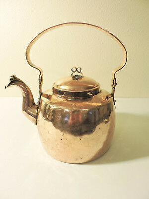 Vintage Antique Copper Tea Kettle Dovetailed Goose neck  Riveted Handles Tea Pot