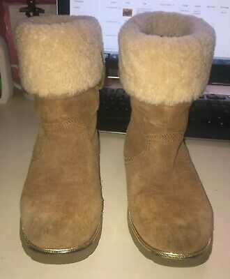 Ugg Girls Youth Size 4 Beautiful Brown Leather Boots With Fur And Gold Trim