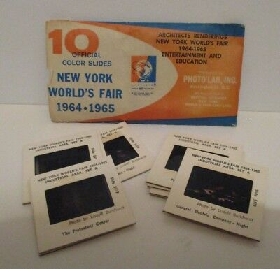 Vintage 1964 1965 Nywf New York Worlds Fair 10 Official Photo Slides In Envelope