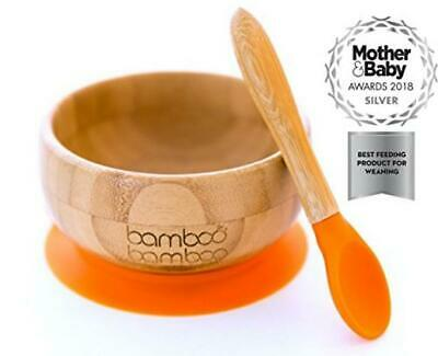 Baby Suction Bowl and Matching Spoon Set, Stay Put Feeding Bowl, Natural...