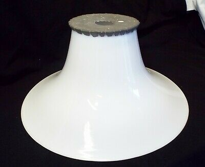 "Old Antique LARGE 16"" MILK GLASS Bell Shaped Metal Top INDUSTRIAL LAMP SHADE"