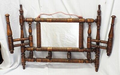 Old Antique VICTORIAN Oak SPOOL Wall MIRROR & COAT RACK Folding Rack Arms