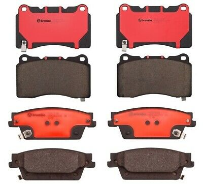 For Nissan Armada Infiniti Front Brake Pad Set Ceramic Slotted Clips Brembo