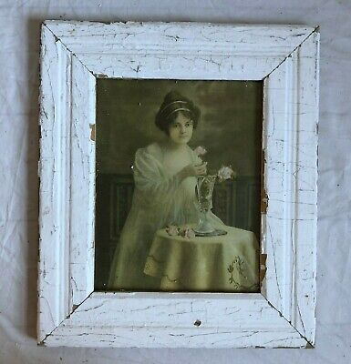 """1890's Antique Wood Picture Frame 8"""" x 10"""" White Reclaimed Wooden 66-19"""