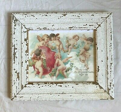 """1890's Antique Wood Picture Frame 8"""" x 10"""" White Reclaimed Wooden 69-19"""