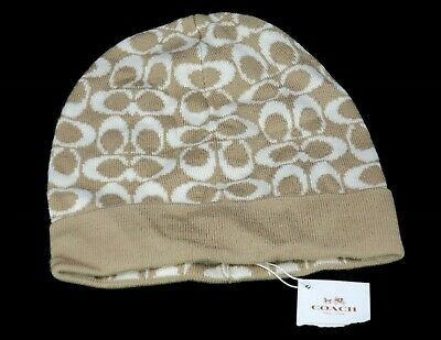 d7edf601f82 Coach Knit Logo Beanie Hat Camel Ivory Cap Women s One Size (New with Tag