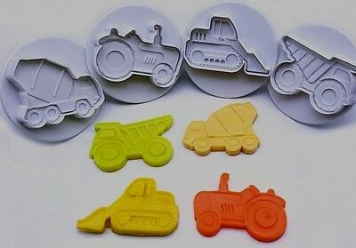 4pcs Trucks, Tractors & Bulldozer Cookie Cutters Fondant Mould Decorating Icing