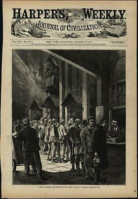 Nevada Silver Mine Shift Change Labor 1877 wood engraved print