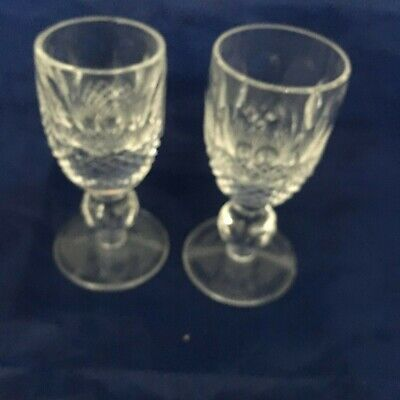 Set of 2 Waterford Colleen Short Stem Cordial Liqueur Crystal Glasses Ireland