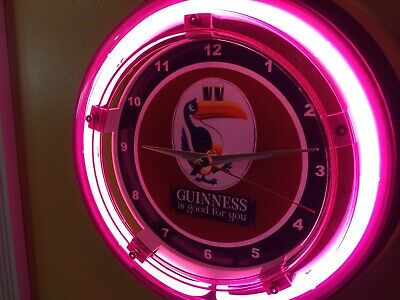 Guinness Stout Toucan Beer Bar Advertising Man Cave Neon Wall Clock Sign