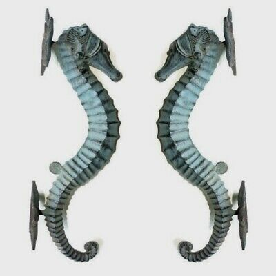 "2 large aged green SEAHORSE solid brass door old style 13"" PULL handle seaside B"