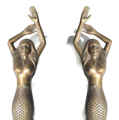 "2 amazing MERMAID solid brass door PULL very heavy house handle 15"" aged pair B"