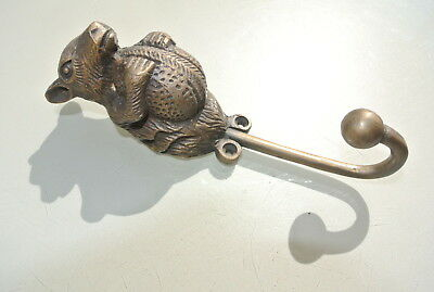 "SQUIRREL HOOK aged solid heavy BRASS old vintage style natural 6.1/2 "" long B"