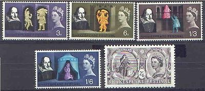 Great Britain 1964 SHAKESPEARE Festival Set (5) Unhinged Mint, SG 646-9