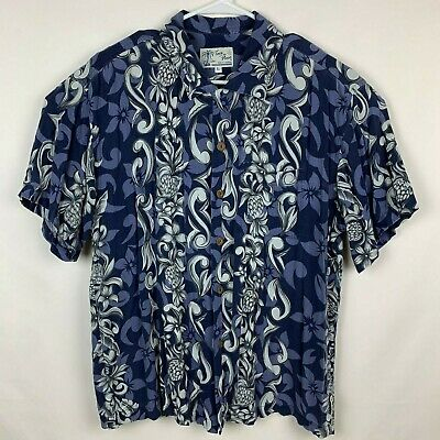 56698d76 Toes On The Nose Men's Floral Graphic Hawaiian Button Down Shirt Size L  Large