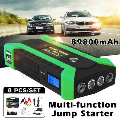 Portable 89800mAh Car Jump Starter Booster 4USB Charger Battery Power Bank 12V