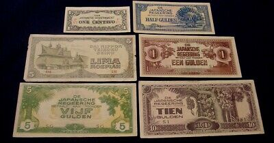 1940s Japanese Invasion Money 6 different banknotes.