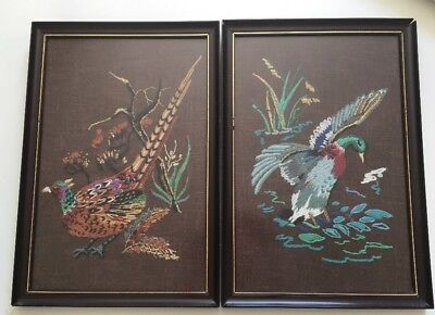 VINTAGE MID CENTURY 60s EMBROIDERIES BIRDS X2 GLASS FRAMED