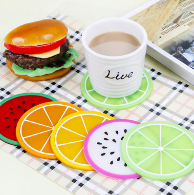 1pcs/7pcs Silicone Fruit Coaster Silicone Tea Cup Drink Holder Mat Placemat Pad
