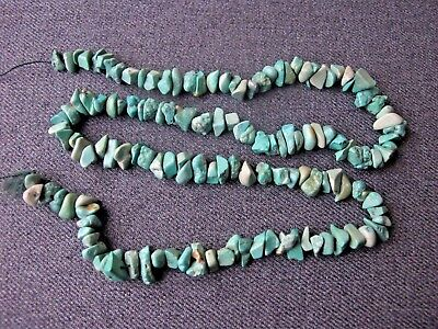 Vintage real green howlite chips strand for jewelry making    20 inches long