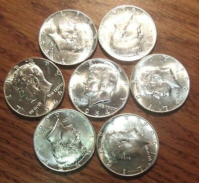 WHOLESALE LOT OF 7 1964 KENNEDY 90 PERCENT SILVER COIN NICE AU/UNC 5-D's & 2-P's