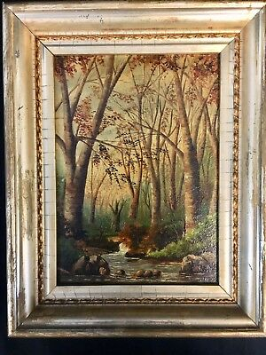 Antique 19th. c New England Landscape Fall Forest & Babbling Brook Oil Painting