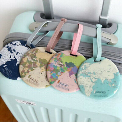 Travel Accessories Baggage Boarding Tag Portable Label Fashion Map Luggage bleu