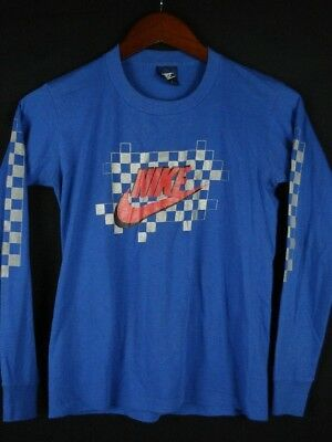 Vintage 80s NIKE Blue Tag Swoosh Long Sleeve T-Shirt Boy's L 14-16 RARE