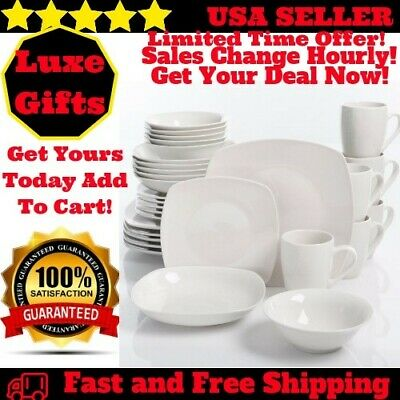 fe5b38a669928 30-Piece Porcelain Dinnerware Set Square Dinner Plates Dish Service For 6  White