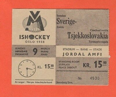 USA  ! Norwegen 1958   CANADA Orig.Ticket    Eishockey WM OSLO RARITÄT