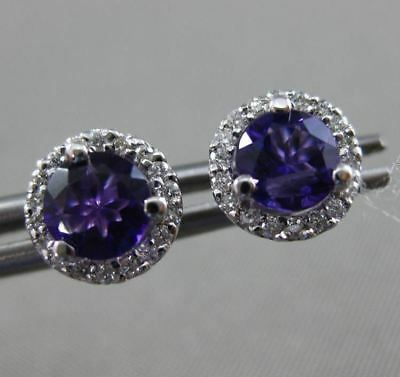 Estate .17Ct Diamond & Amethyst 14Kt White Gold Classic Round Halo Stud Earrings