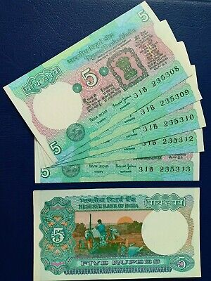 Lot of 5pcs - India 5 Rupees Old Series - No Pin holes - Rare - UNC