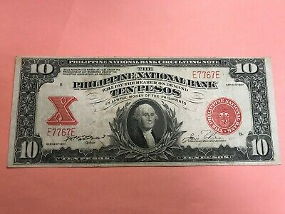1937 Philippines National Bank Ten Peso Washington Vignette E7767E P-58