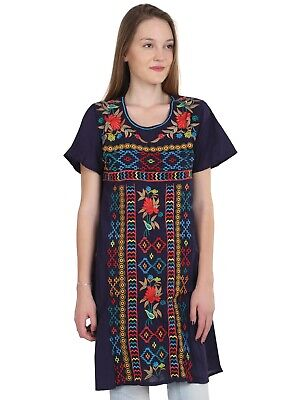 Above Knee Embroidered Mexican Peasant Hippie Mini Boho Dress S M L Xl