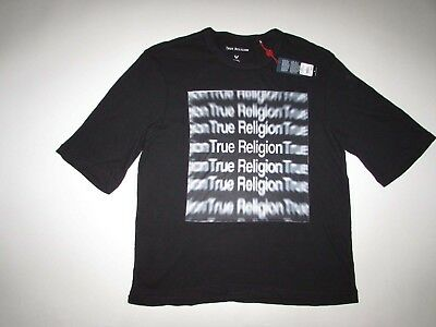 True Religion Mens Oversized 3D Tee Crew Neck T-Shirt XL NWT Short Sleeves Black