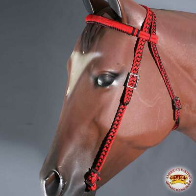 U-A305 Red Black Horse Bridle Headstall Flat Braided Paracord By Hilason