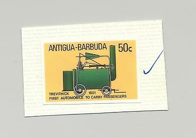Antigua #1028 Trevithick, Automobile, 1v. imperf chromalin proof