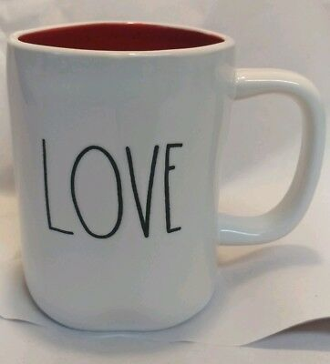 "Rae Dunn by Magenta LL ""LOVE/YOU"" Double-Sided Coffee Mug Red Interior VHTF RARE"